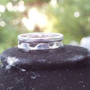 Jewelry - Stackable Midi Dual Band Designed Silver Ring